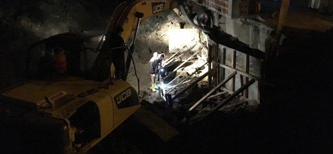 Dere ıslahı çalışmasında 2 katlı ev zarar gördü