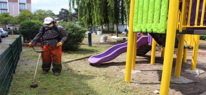 Çocuk parklarında yabani ot temizleme çalışması