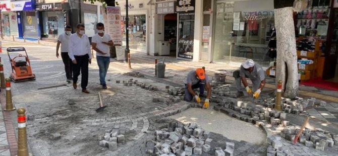 Şadırvan Caddesi'nde bakım onarım çalışması yapıldı