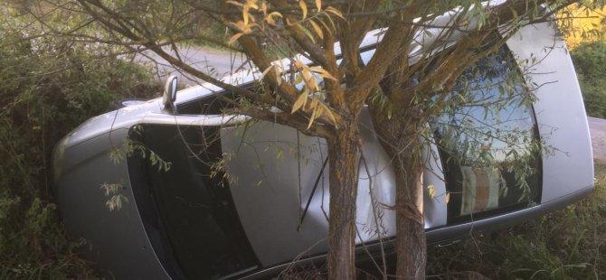 Dereye düşen otomobili takla atmaktan ağaç kurtardı