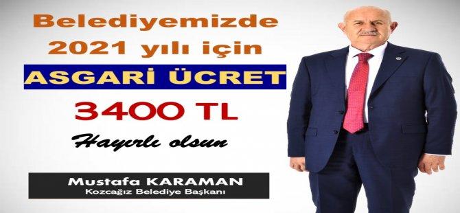 """AK Partili başkan açıkladı: """"Asgari ücret 3 bin 400 TL"""""""