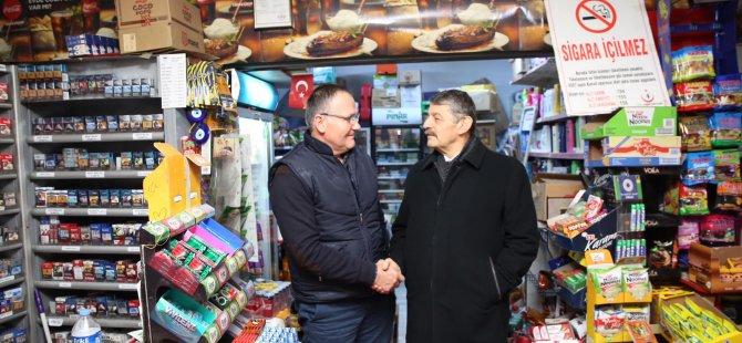 Başkan Akın, esnaf ziyaretlerine Aşağı Cami Sokak'ta devam etti