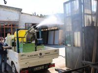 Dezenfekte ekipleri Sanayi Sitesi'nde