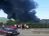 İşçilerin çalıştığı sırada yangın çıktı